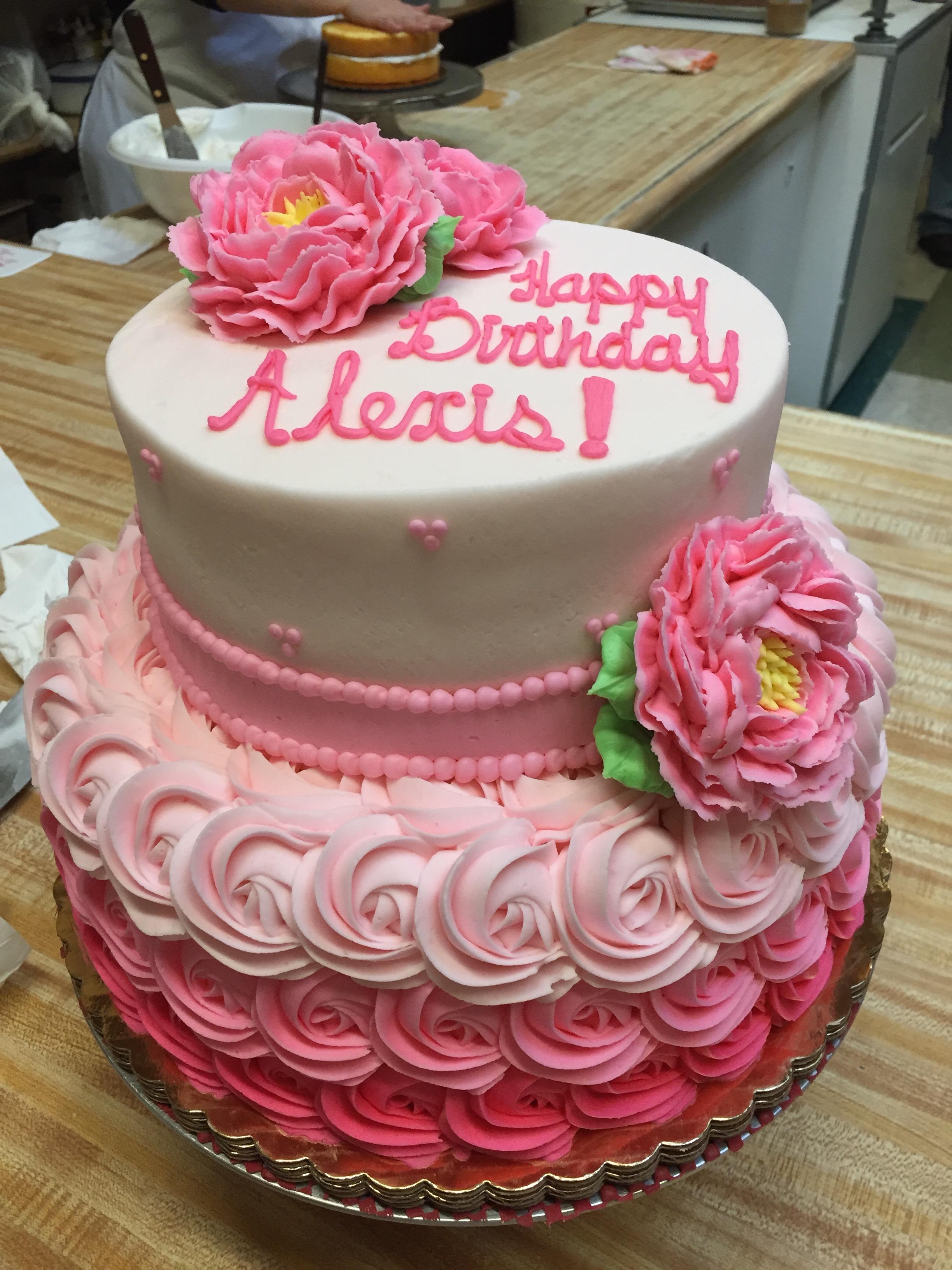 2 Tier Pink Rosette Flower Cake 8