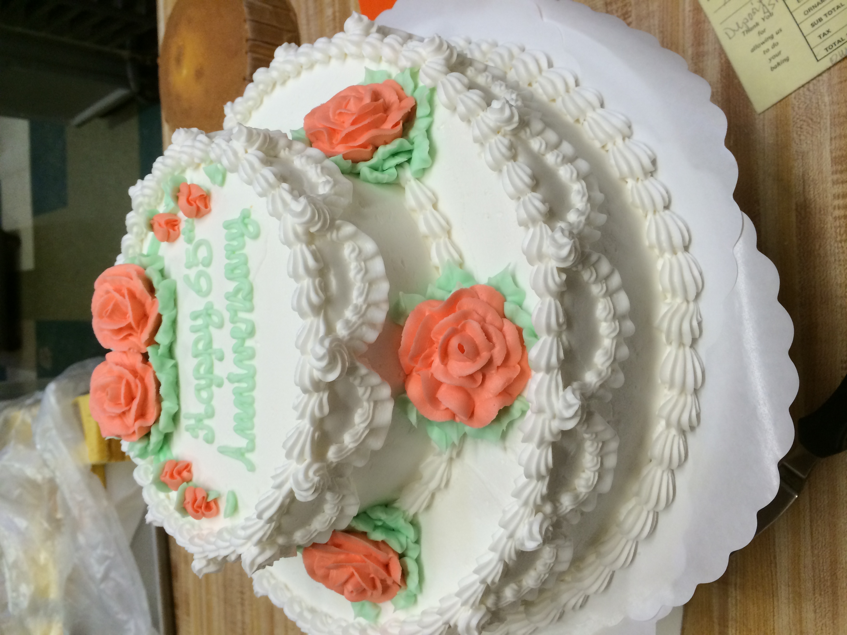 Traditional Cake w/ Peach Flowers 5