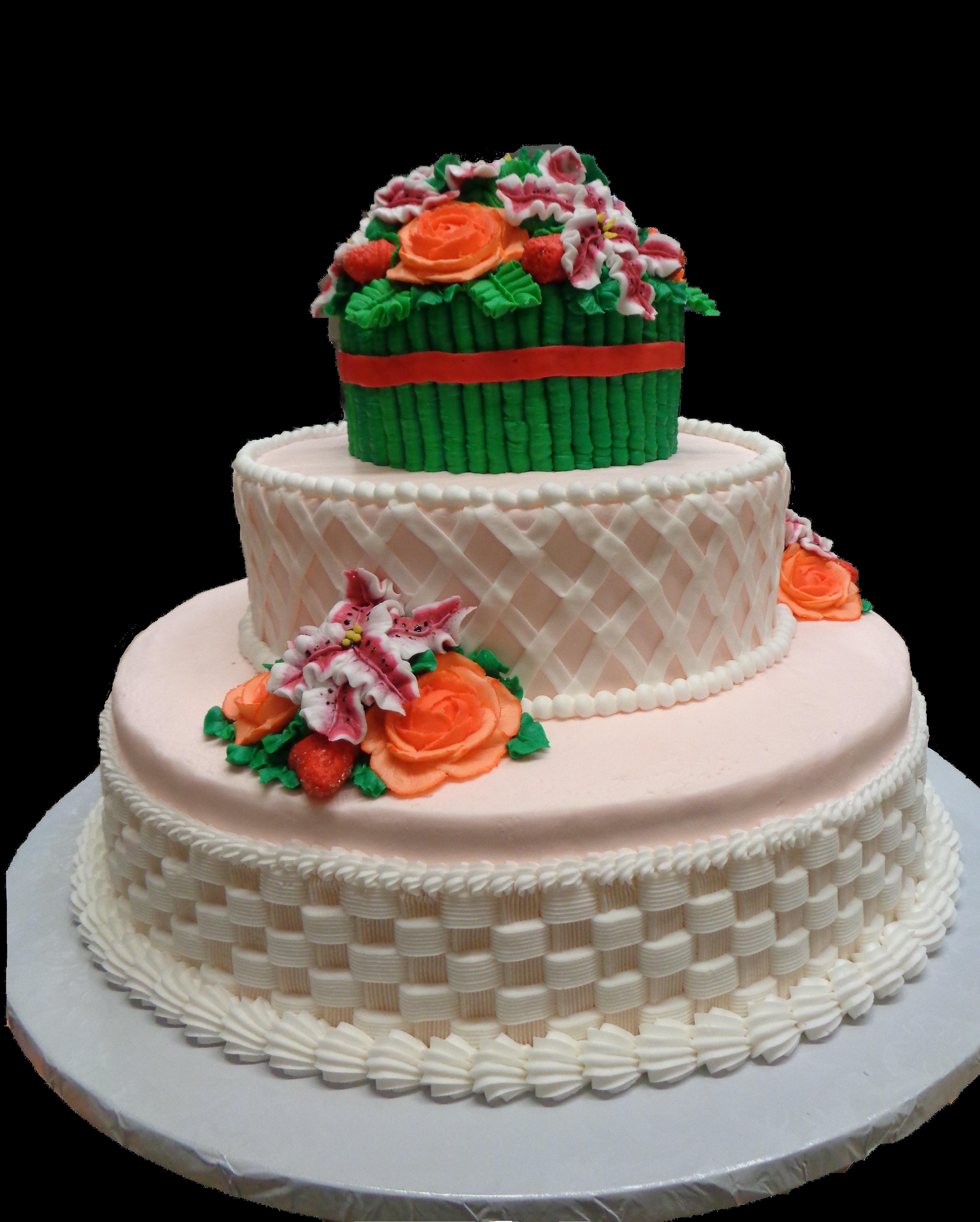 Pink Garden Basket Cake