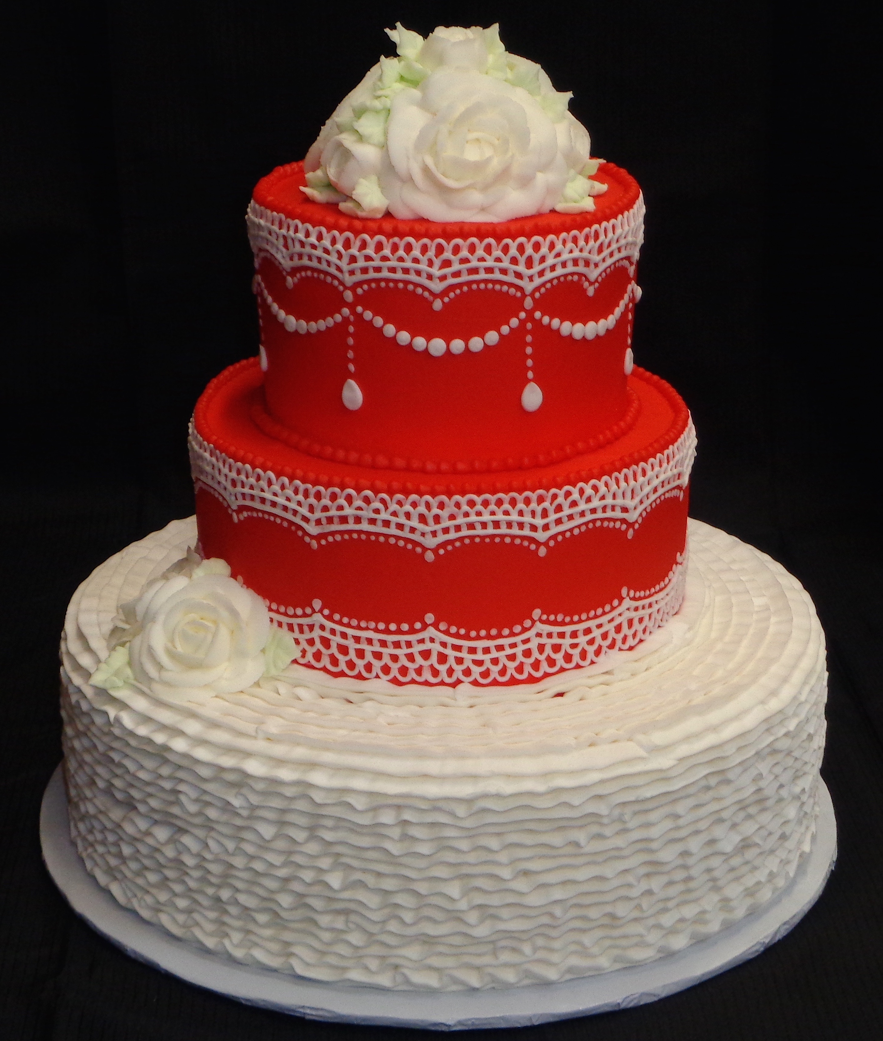 Red Cake w/ White Lace