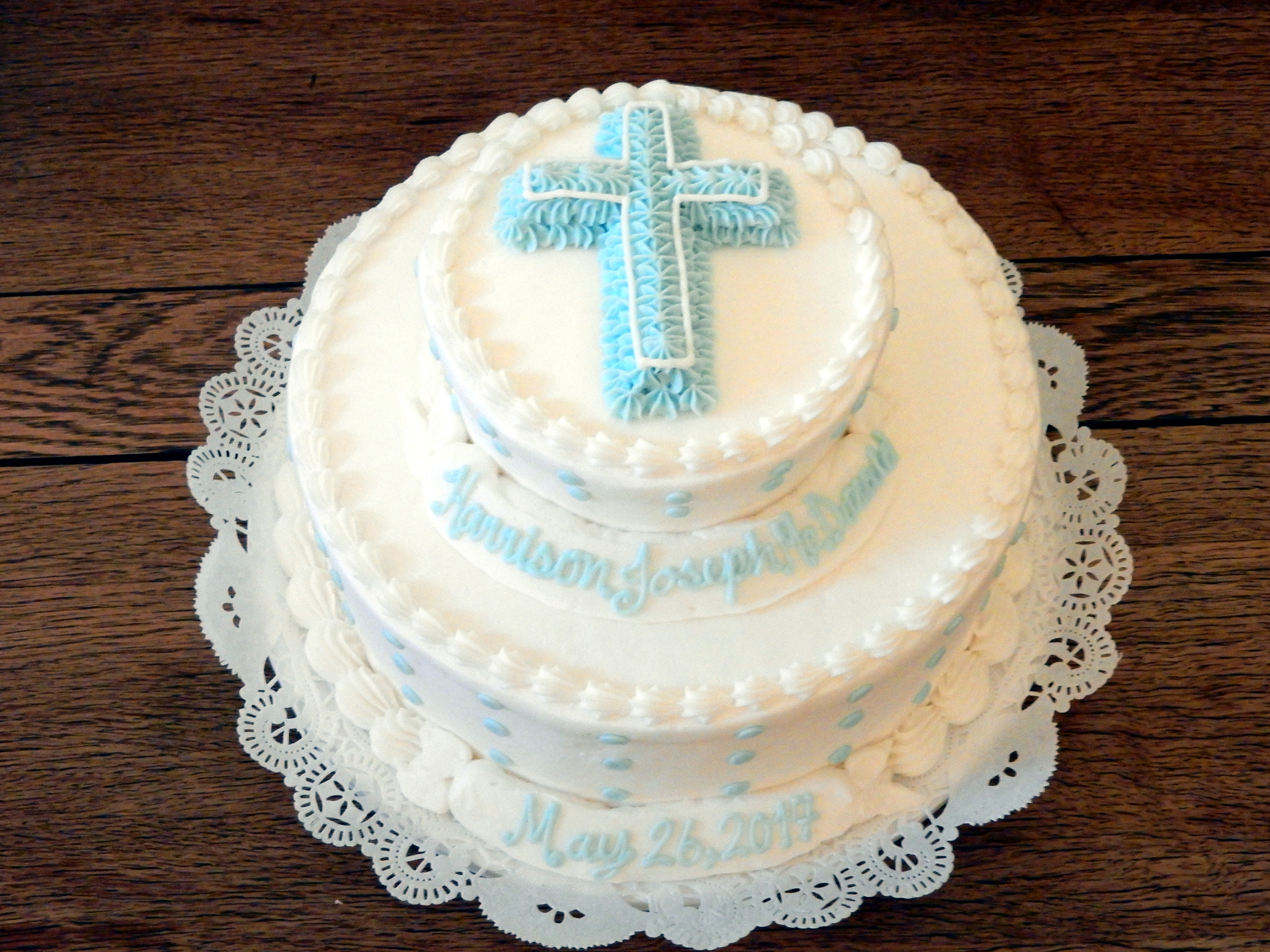 2 tier blue cross cake 29