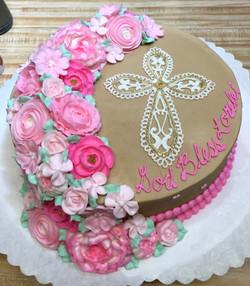 Milk Chocolate Pink Flower Cross 27
