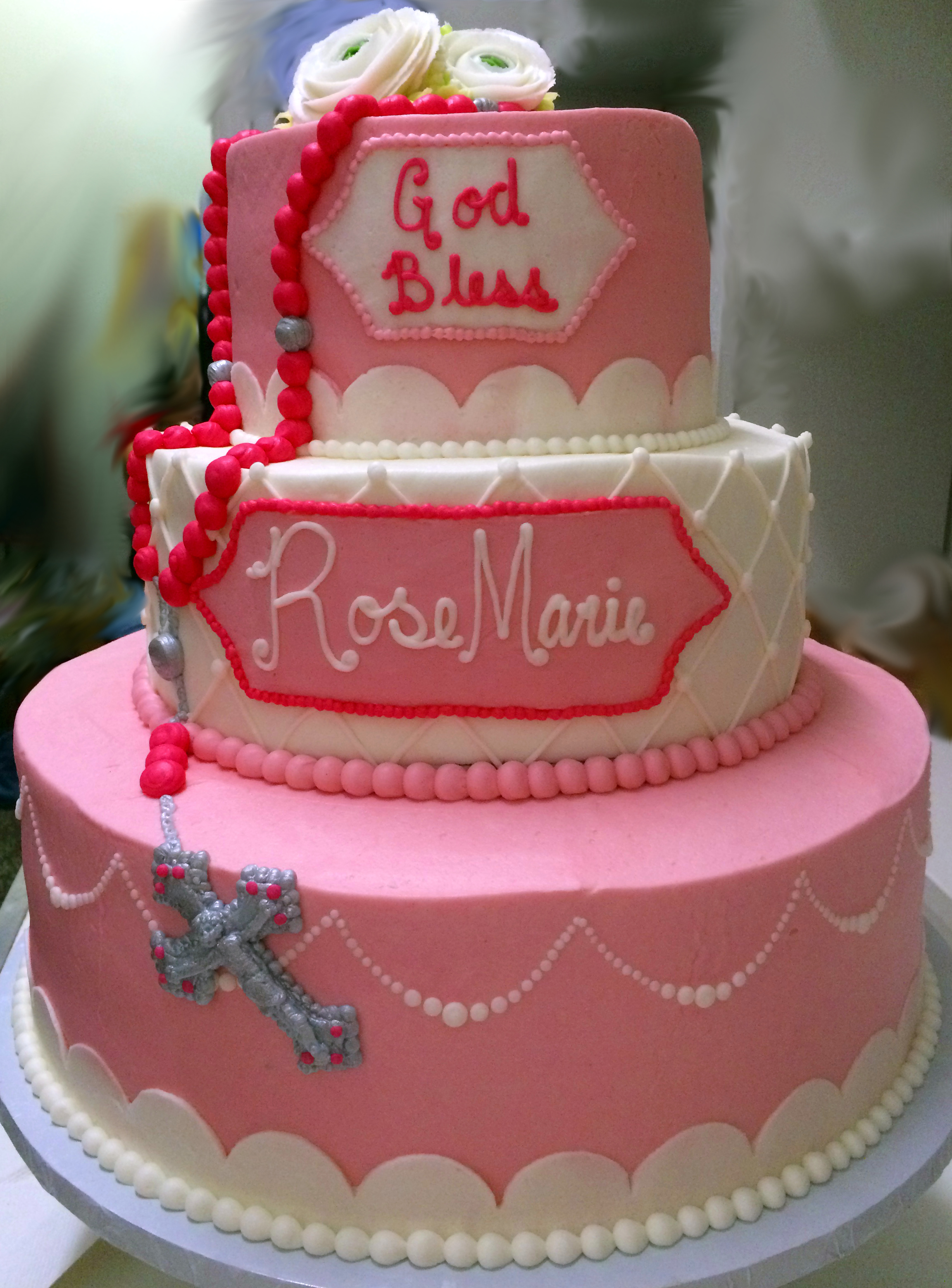 3 Tier Christening Cake 26