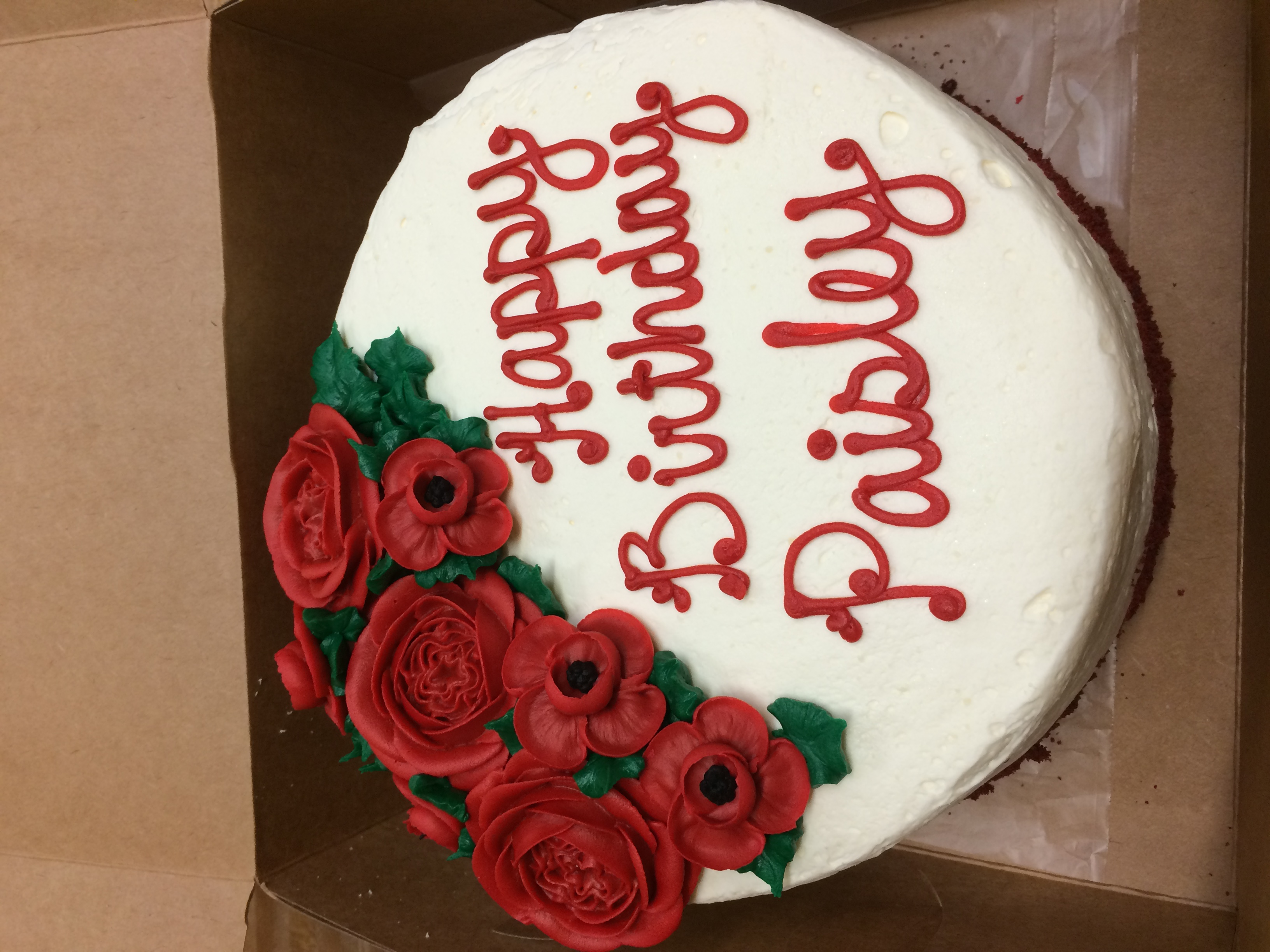 Birthday Cake with Red Flowers 19