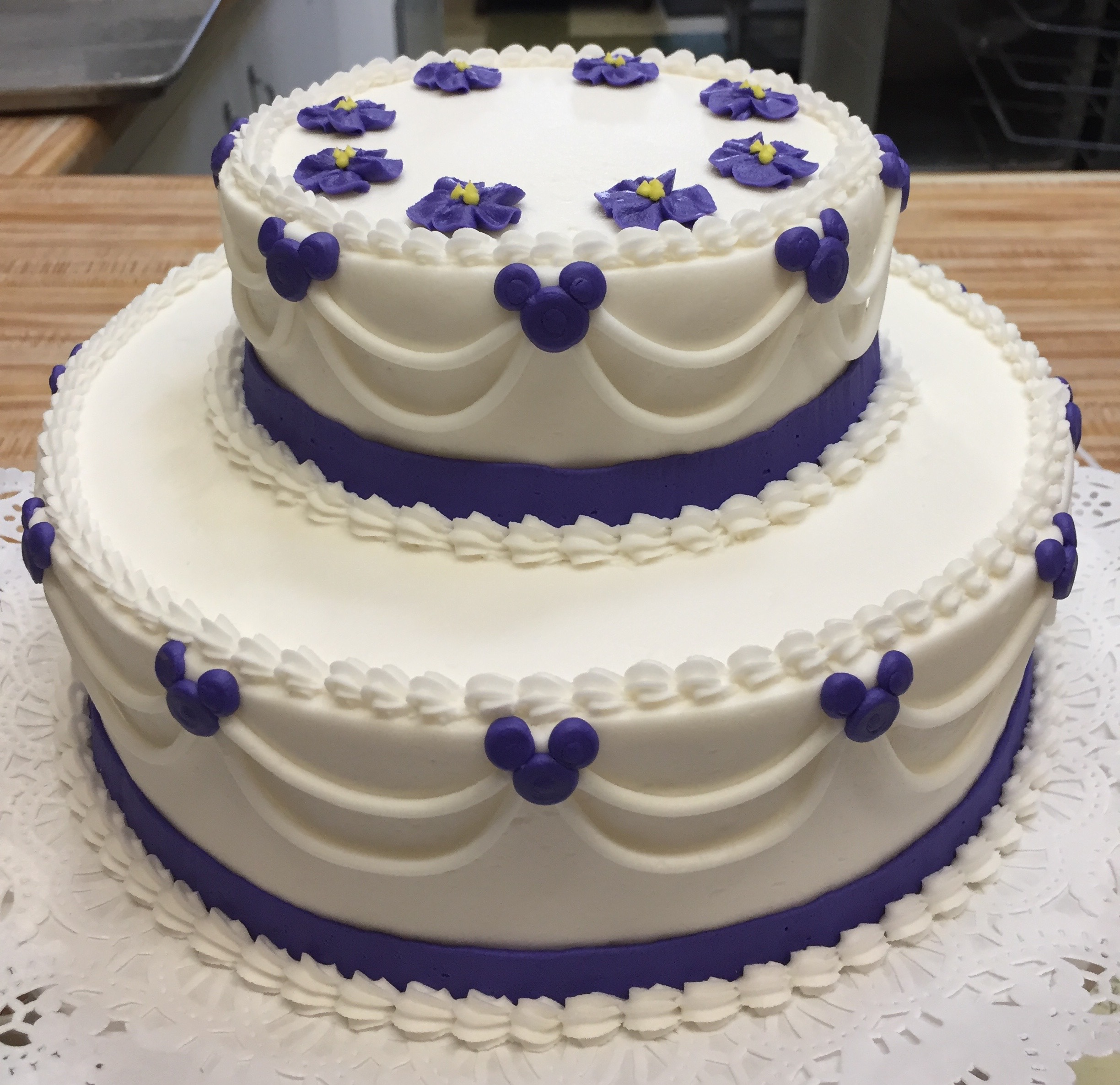 2 Tier purple Mouse theme cake 20