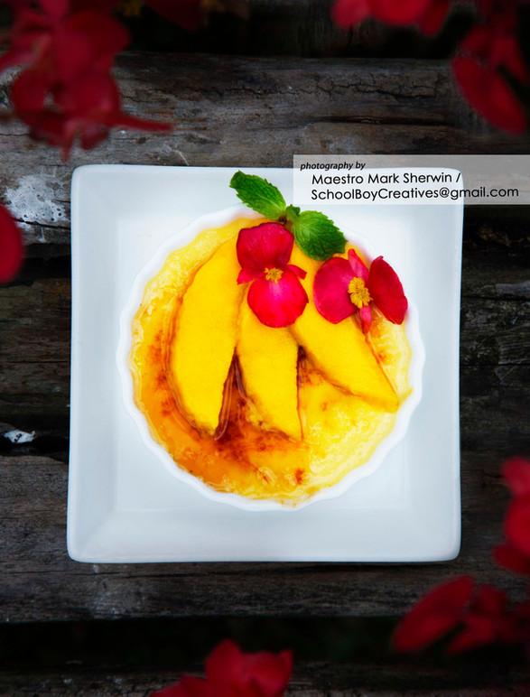 Kaffir Lime Creme Brulee with Yellow Mango