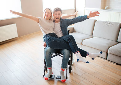 wheelchair user with partner happy