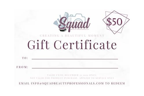 $50 E-Gift Certificate