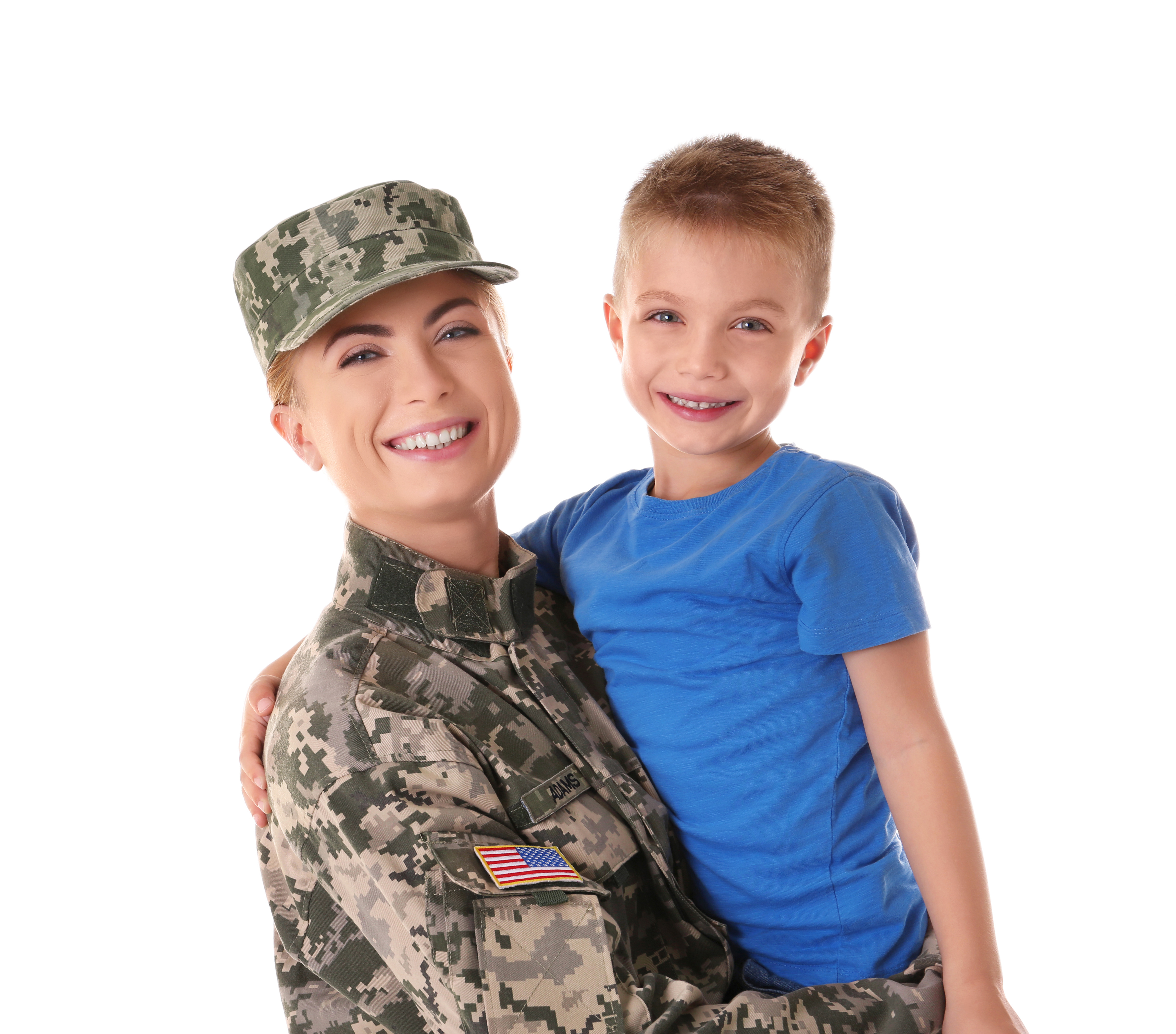 Portrait of woman soldier and her son on