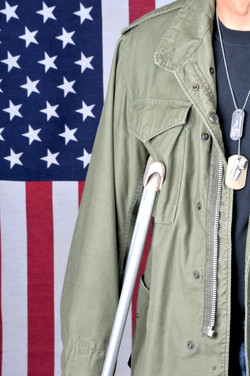 Close up of American veteran with crutch