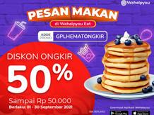 Wehelpyou Eat: Diskon Ongkir 50% Sampai Rp. 50.000 Hanya Buat Kamu