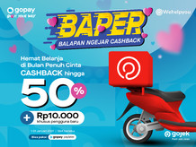 BAPER 50%, Cashback dari GoPay di aplikasi Wehelpyou