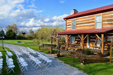 Log cabin country wedding venue in Kentucky