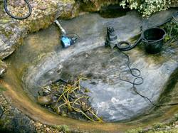 concrete pond clean
