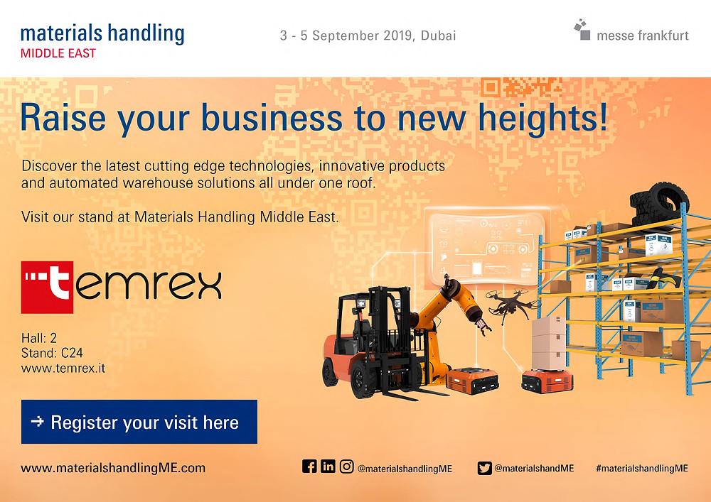 Temrex sarà presente alla Materials Handling Middle East di Dubai. Dal 03 al 05 Settembre 2019, Hall 2 stand C24