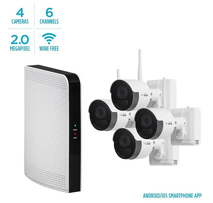 HDVISION 2MP WIRE-FREE 4-CAMERA SECURITY KIT W/ TWO WAY AUDIO