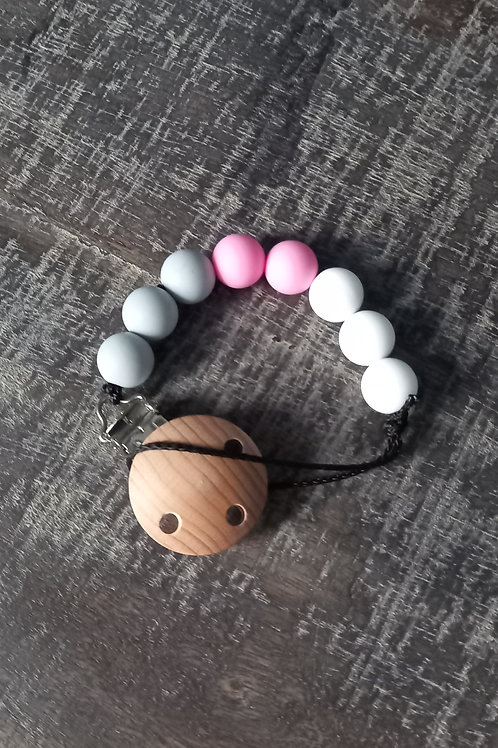 Dummy Clip - Pink/White/Grey