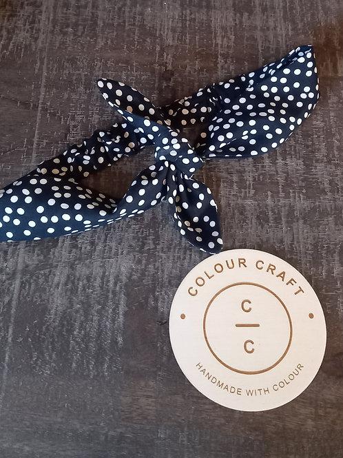 Navy Spot - Bow Headband