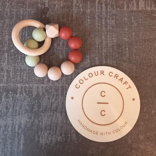 Teether Silcone - Rust/Oatmeal/Olive