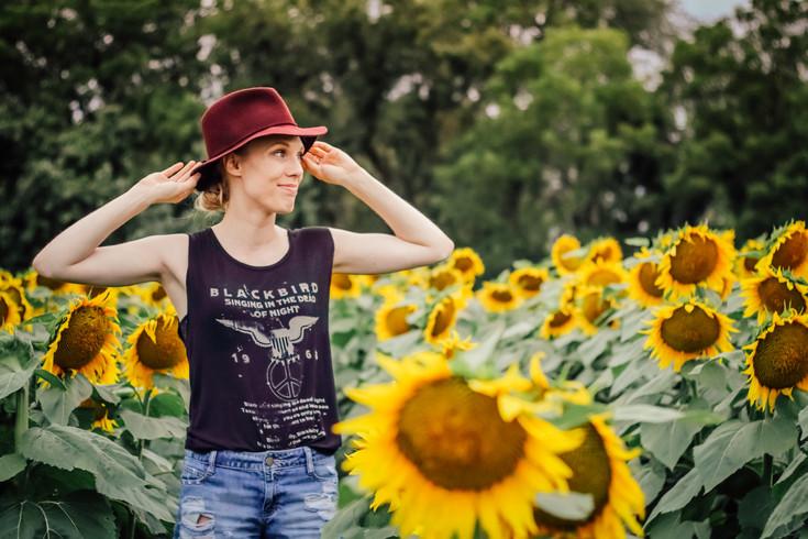 In a field of sunflowers...