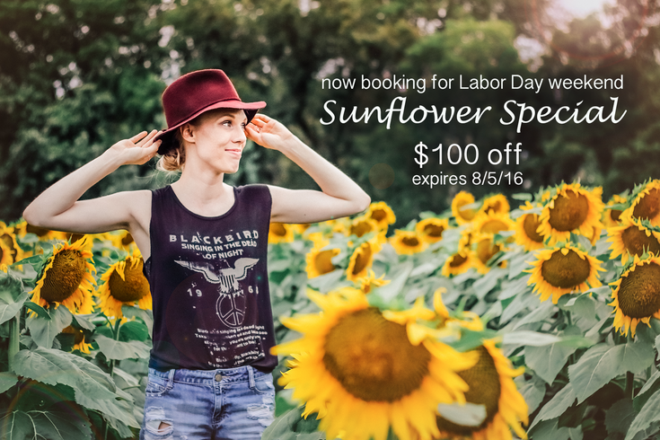 Sunflower Sessions- $100 OFF