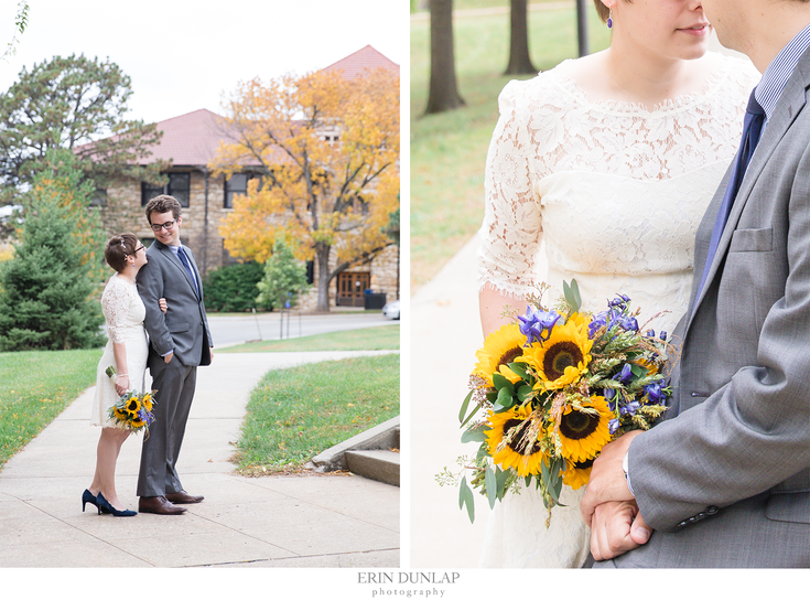 Sunflower-Adorned Bridal Portraits From An Intimate, Fall Wedding In Lawrence, KS