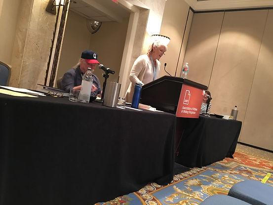 Rebecca Gummere speaking at AWP 2018.