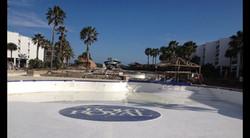 Logo installed on the pool bottom