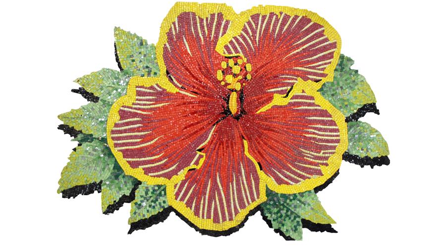 Handcut Byzantine Glass Mosaic Hibiscus Flower