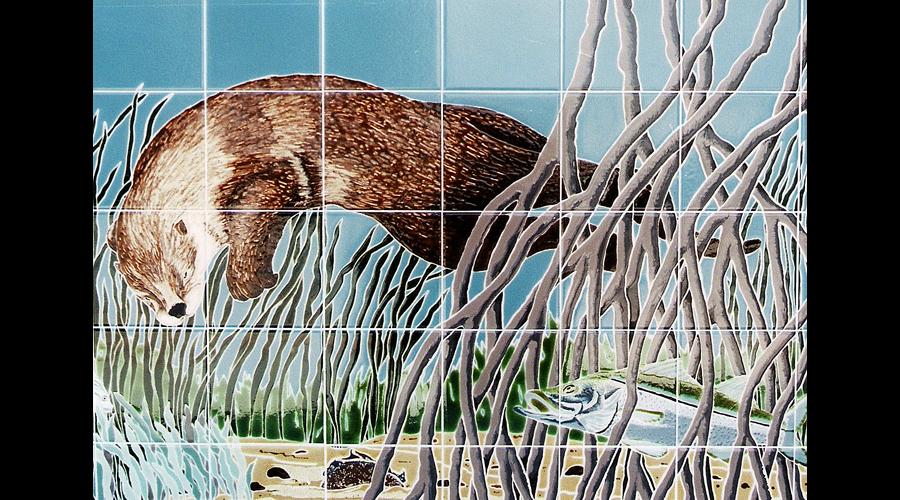 Handpainted tile Mural Otter
