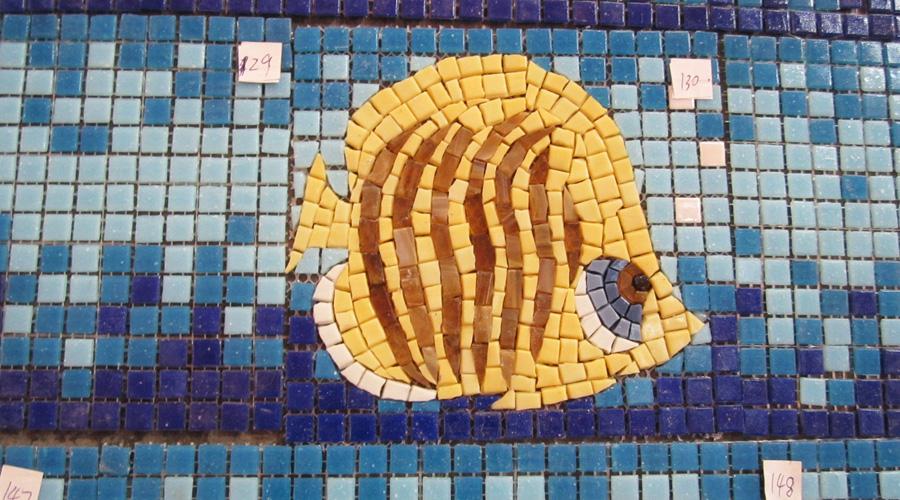 Handcut Butterflyfish Glass Mosaic
