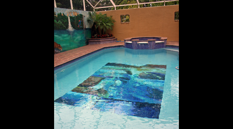 Abstract Art Glass Mosaic Pool 6