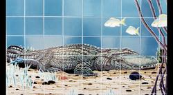 Handpainted Tile Mural Alligator