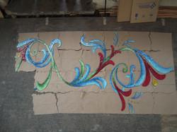 Handcut glass mural progress