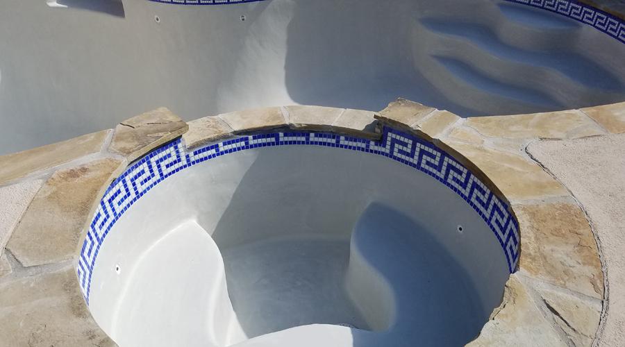 Greek Key Glass Mosaic Waterline Spa