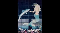 Mermaid & Dolphin mural closeup