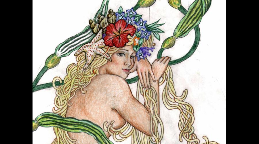 Closeup of Agape Mermaid Artwork