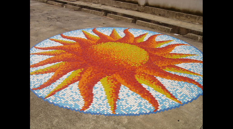 10.5' Glass Mosaic 20mm Sun Mural