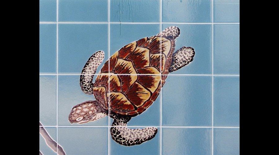 Handpainted Tile Mural Sea Turtle