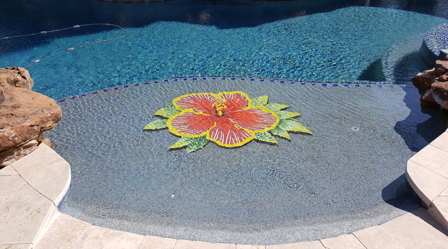 Byzantine Glass Mosaic Hibiscus Flower Sideview