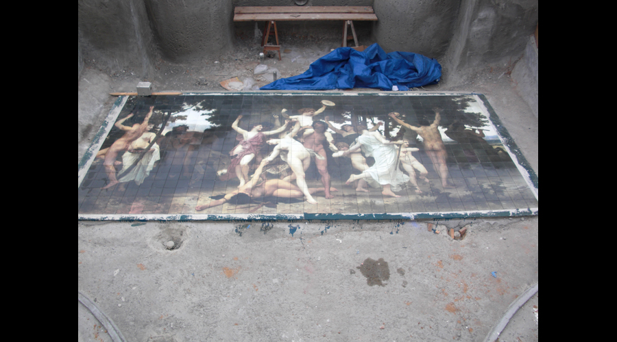 Youth of Bacchus Mural installed