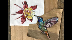 Hummer and Flower finished mosiac closeup