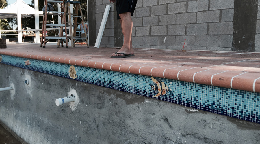 View of the installed pool waterline