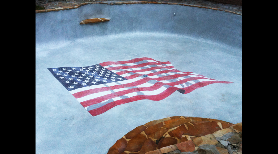 American Flag Swimming Pool Mural