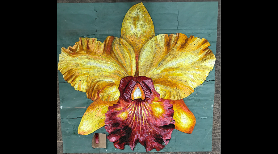Final Mounted Orchid Mosaic Backview