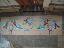 Finished handcut glass pool mural