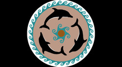 Dolphin Handcut Glass Pool Medallion Art with Wave Border