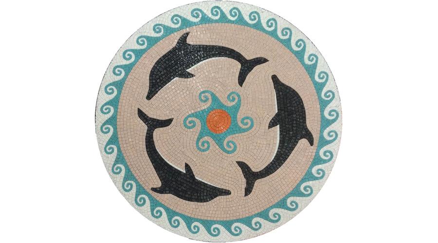 Custom Dolphin Handcut Glass Pool Medallion with Wave Border