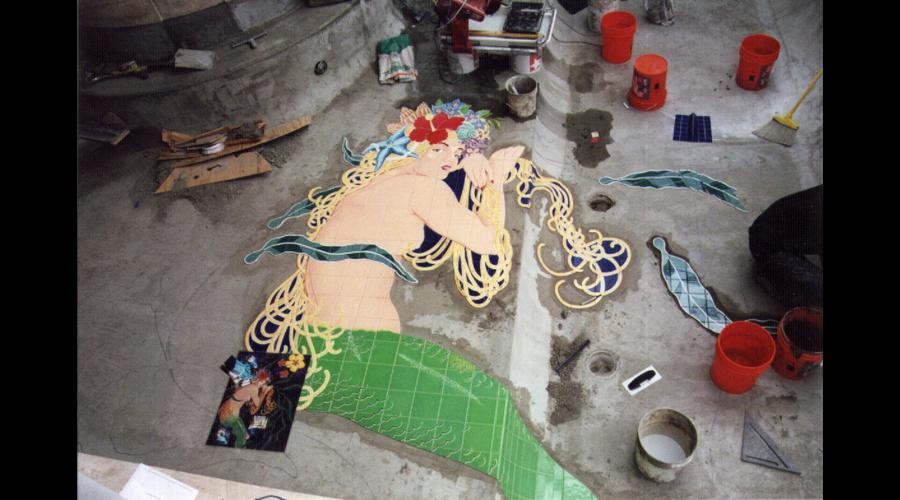 Mermaid installed on the Pool Floor