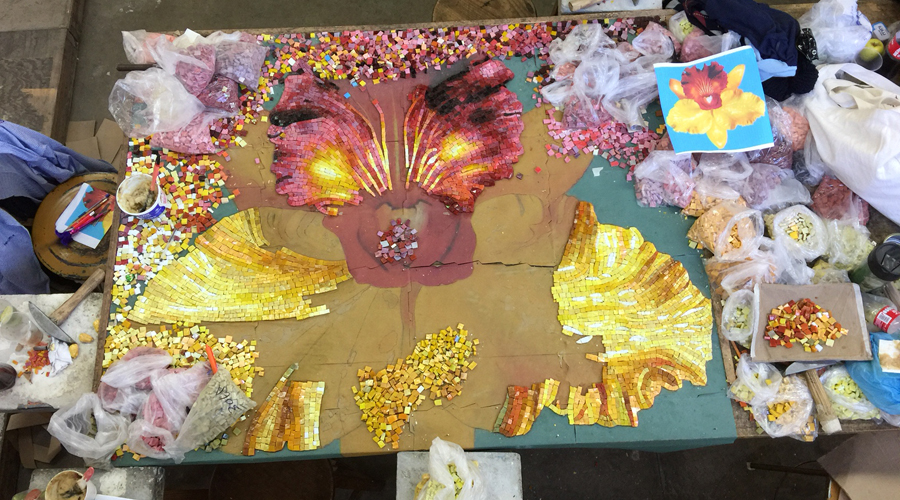 Orchid Smalti Handcut Mosaic In Progress